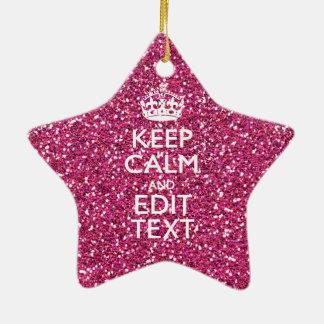 Guarde la calma y tenga su texto en color de rosa adorno navideño de cerámica en forma de estrella