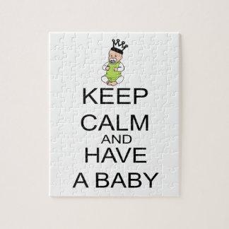 Guarde la calma y tenga un bebé puzzles con fotos