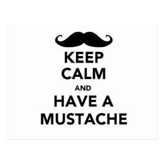 Guarde la calma y tenga un bigote postales