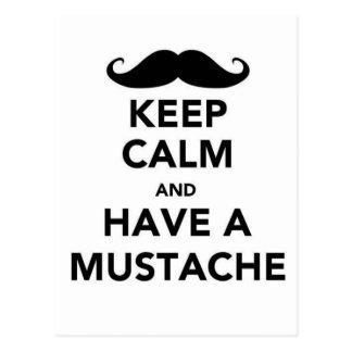 Guarde la calma y tenga un bigote tarjetas postales