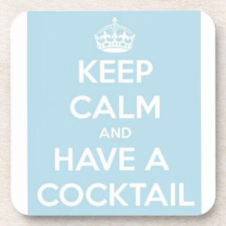 Guarde la calma y tenga un cóctel posavasos de bebidas
