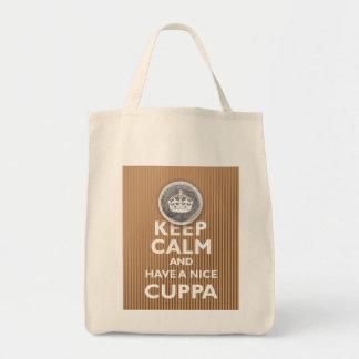 ¡'Guarde la calma y tenga un Cuppa! ' Bolsa Tela Para La Compra