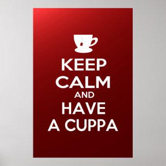 Guarde la calma y tenga un Cuppa Póster