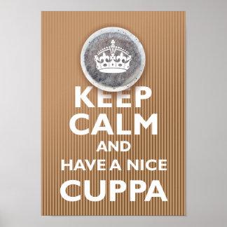 'Guarde la calma y tenga un Cuppa Póster