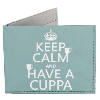 Guarde la calma y tenga un Cuppa - todos los Billeteras Tyvek®