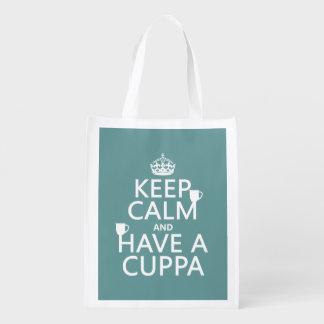 Guarde la calma y tenga un Cuppa - todos los Bolsas Reutilizables