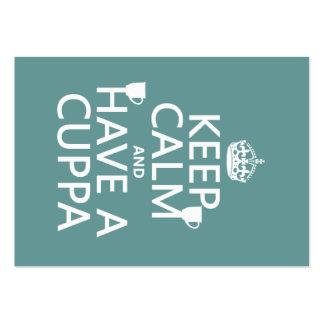 Guarde la calma y tenga un Cuppa - todos los color Tarjetas De Visita Grandes