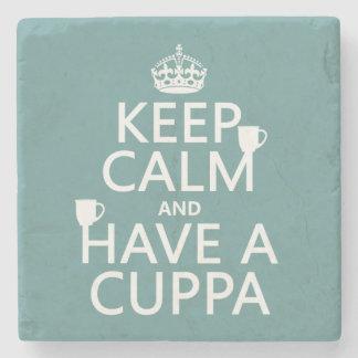 Guarde la calma y tenga un Cuppa - todos los Posavasos De Piedra