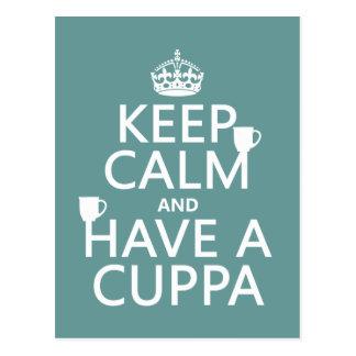 Guarde la calma y tenga un Cuppa - todos los Tarjeta Postal