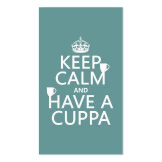 Guarde la calma y tenga un Cuppa - todos los Tarjetas De Visita