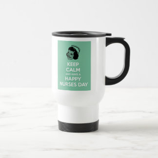 Guarde la calma y tenga un día feliz de las enferm taza de café