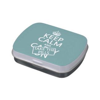 Guarde la calma y tome las píldoras (en todos los  latas de dulces
