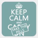 Guarde la calma y tome las píldoras (en todos los colcomanias cuadradases