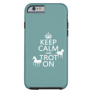 Guarde la calma y trote encendido - los caballos - funda resistente iPhone 6