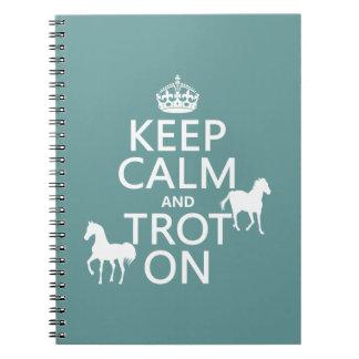 Guarde la calma y trote encendido - los caballos - spiral notebook