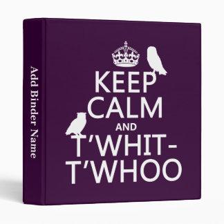 """Guarde la calma y T'Whit-T'Whoo (búhos) (cualquier Carpeta 1"""""""