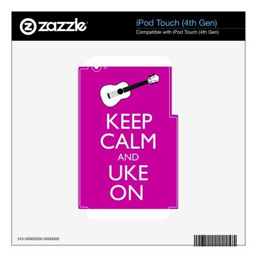 Guarde la calma y Uke en (Fuschia) Calcomanía Para iPod Touch 4G
