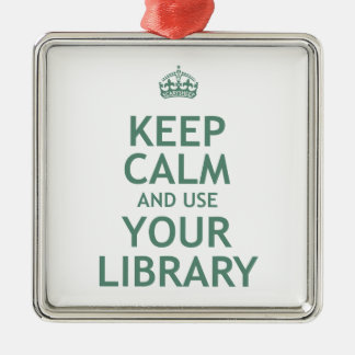 Guarde la calma y utilice su biblioteca adorno navideño cuadrado de metal