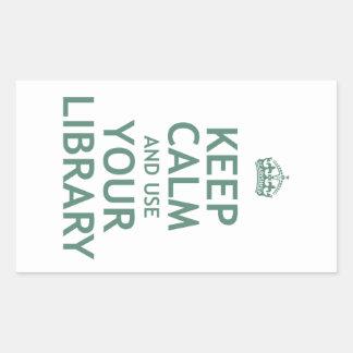 Guarde la calma y utilice su biblioteca pegatina rectangular