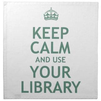 Guarde la calma y utilice su biblioteca servilletas de papel