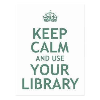 Guarde la calma y utilice su biblioteca tarjetas postales