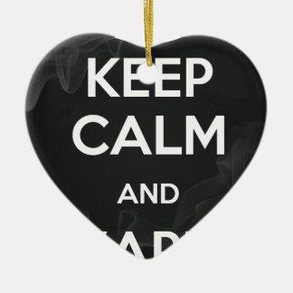 Guarde la calma y Vape encendido Adorno Navideño De Cerámica En Forma De Corazón