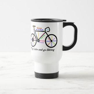 Guarde la calma y vaya a Biking, con palabras de m Taza De Viaje De Acero Inoxidable
