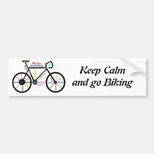 Guarde la calma y vaya a Biking, con palabras de Pegatina Para Auto