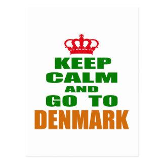 Guarde la calma y vaya a Dinamarca Postales