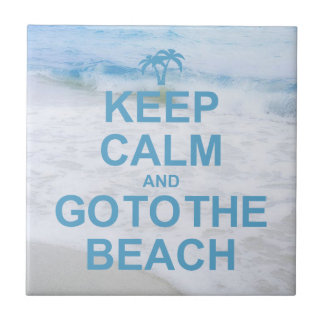 Guarde la calma y vaya a la playa azulejo cerámica