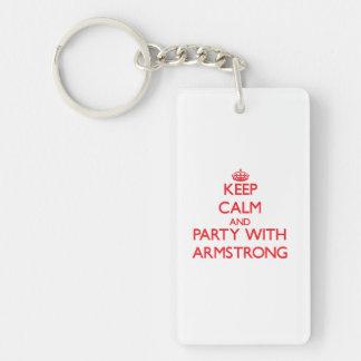Guarde la calma y vaya de fiesta con Armstrong Llavero Rectangular Acrílico A Doble Cara