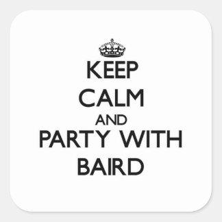 Guarde la calma y vaya de fiesta con Baird Colcomanias Cuadradass
