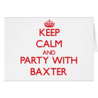 Guarde la calma y vaya de fiesta con Baxter Tarjetas