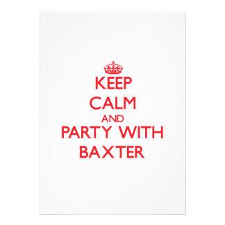 Guarde la calma y vaya de fiesta con Baxter Comunicados Personalizados