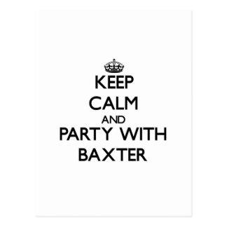 Guarde la calma y vaya de fiesta con Baxter Postales