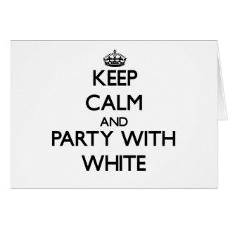 Guarde la calma y vaya de fiesta con blanco tarjeta pequeña