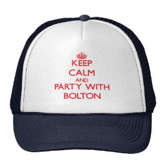 Guarde la calma y vaya de fiesta con Bolton Gorras