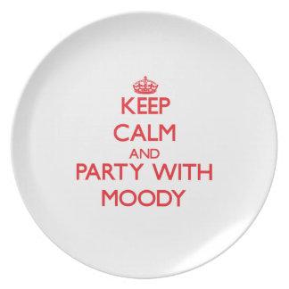 Guarde la calma y vaya de fiesta con cambiante plato para fiesta