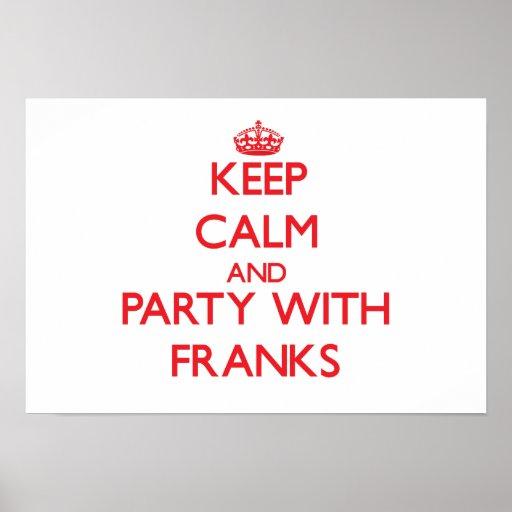 Guarde la calma y vaya de fiesta con cartas franca poster