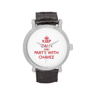 Guarde la calma y vaya de fiesta con Chavez Reloj De Mano