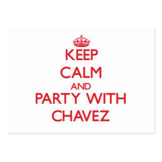 Guarde la calma y vaya de fiesta con Chavez Tarjetas De Visita Grandes