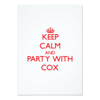 Guarde la calma y vaya de fiesta con $cox