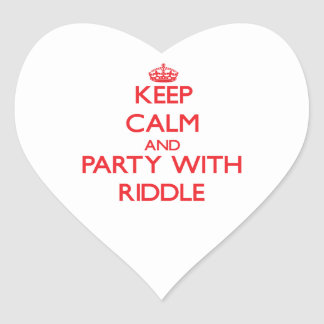 Guarde la calma y vaya de fiesta con criba pegatina de corazón personalizadas