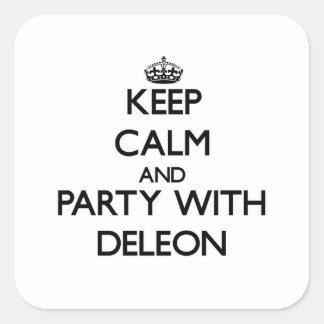 Guarde la calma y vaya de fiesta con Deleon Calcomanía Cuadradas Personalizadas
