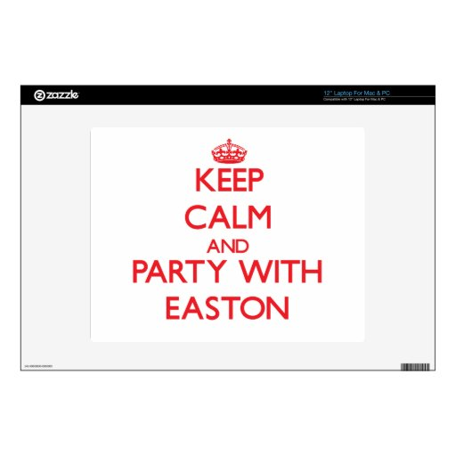 Guarde la calma y vaya de fiesta con Easton Calcomanías Para 30,5cm Portátiles