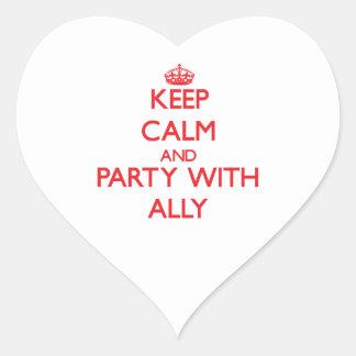 Guarde la calma y vaya de fiesta con el aliado pegatina en forma de corazón