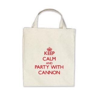 Guarde la calma y vaya de fiesta con el cañón bolsa lienzo