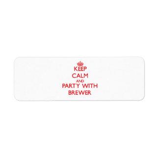 Guarde la calma y vaya de fiesta con el cervecero etiquetas de remite