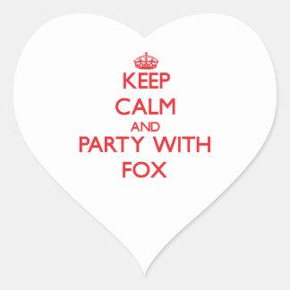 Guarde la calma y vaya de fiesta con el Fox Calcomania De Corazon Personalizadas