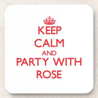 Guarde la calma y vaya de fiesta con el rosa posavasos de bebida